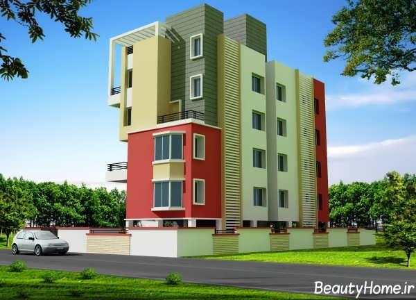 نمای رنگی ساختمان سه طبقه