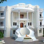 نمای ساختمان سه طبقه با طراحی شیک و زیبا
