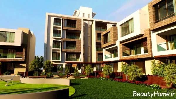 نمای زیبا و ایده آل ساختمان سه طبقه