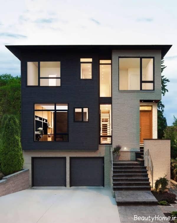 نمای مدرن ساختمان سه طبقه