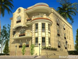 نمای ساختمان زیبا و متفاوت سه طبقه