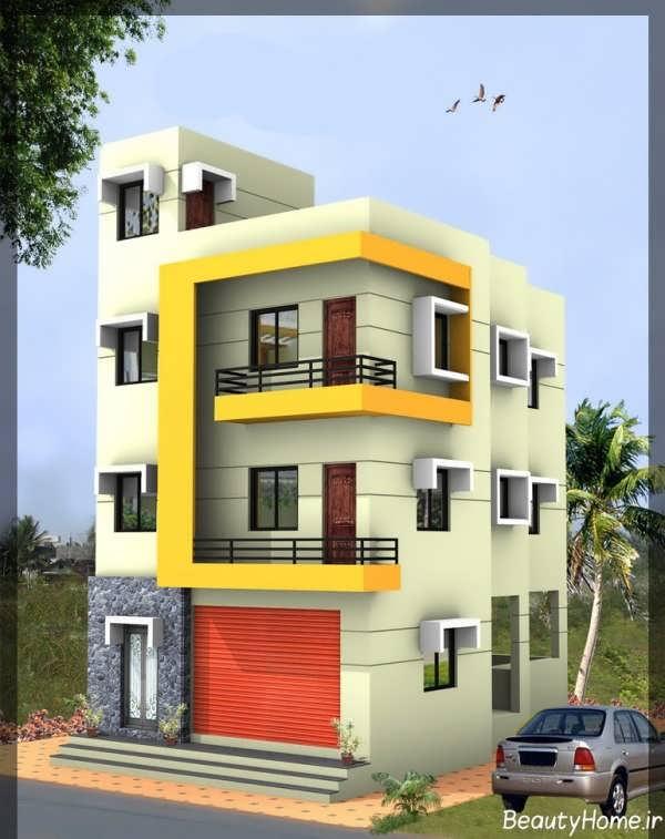 نمای مدرن و زیبا ساختمان سه طبقه