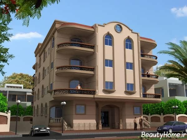نمای ساختمان سه طبقه با طراحی زیبا و شیک