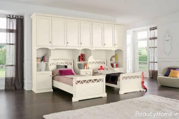 دکوراسیون سفید اتاق خواب دخترانه