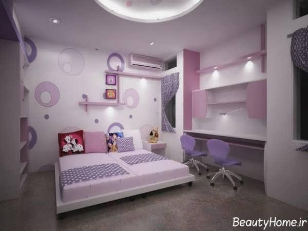دکوراسیون اتاق خواب دخترانه دونفره با طراحی داخلی مدرن و شیک