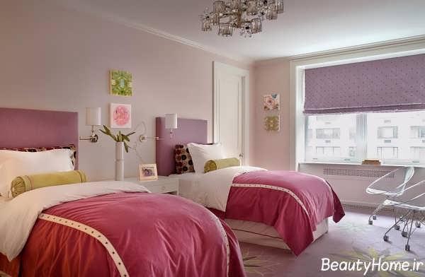 دکوراسیون اتاق خواب دخترانه دونفره با طراحی شیک و متفاوت