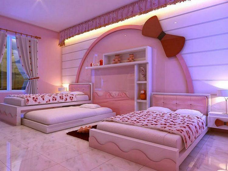 طراحی دکوراسیون اتاق خواب دخترانه دونفره