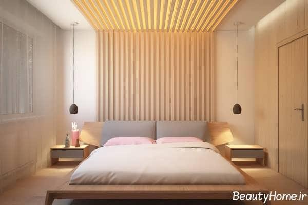 طراحی سقف و دیوار اتاق خواب با اسلاید های چوبی