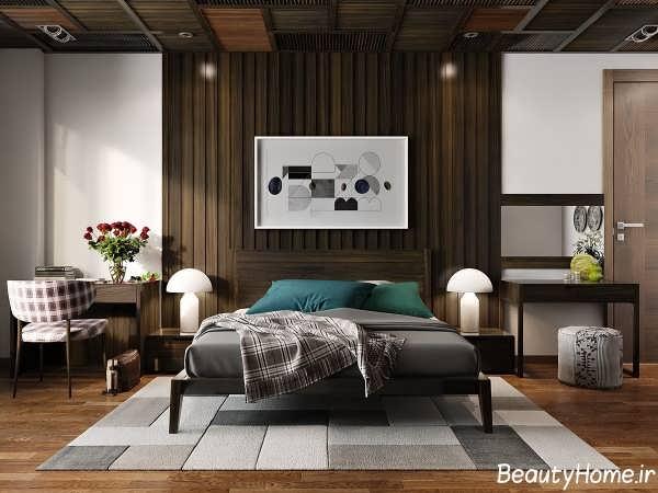 طراحی دیوار اتاق خواب با اسلاید چوبی زیبا