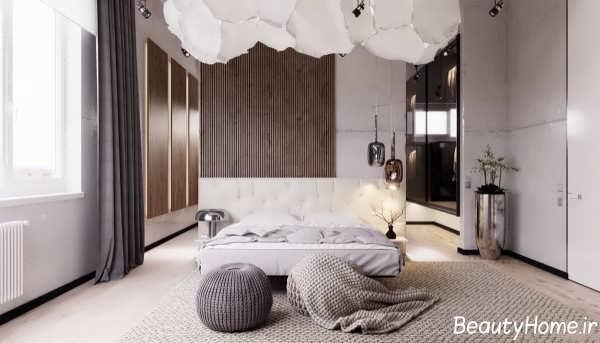 طراحی اتاق خواب با اسلاید چوبی زیبا