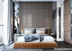 طراحی دیوار اتاق خواب با اسلاید چوبی