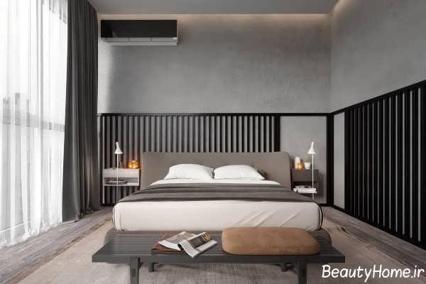 طراحی خلاقانه دیوار اتاق خواب با اسلاید چوبی