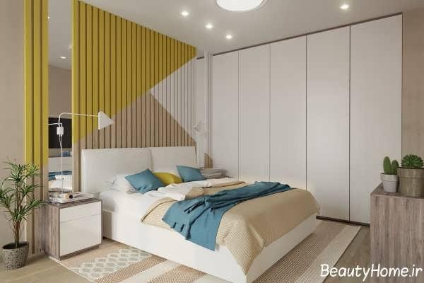 طراحی شیک و کاربردی دیوار اتاق خواب