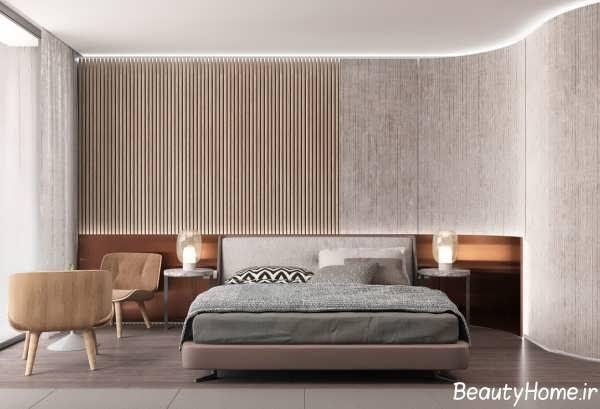 طراحی دیوار اتاق خواب با پانل و اسلاید چوبی