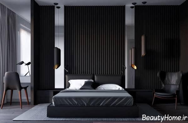 طراحی کاربردی و مدرن دیوار اتاق خواب با اسلاید های چوبی تیره