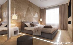 طراحی دیوار اتاق خواب با اسلاید های مثلثی شکل