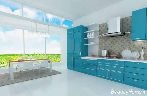 طظراحی دکوراسیون آشپزخانه آبی