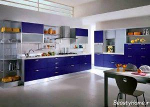 دکوراسیون آشپزخانه با رنگ آبی تیره