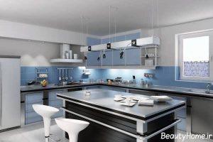 دکوراسیون شیک و مدرن آبی آشپزخانه