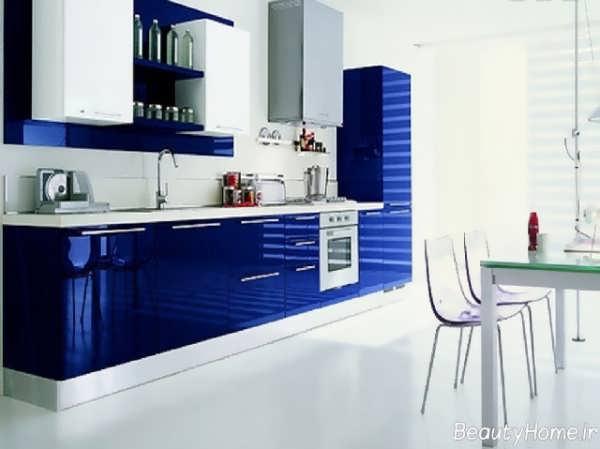 دکوراسیون آبی و سفید آشپزخانه