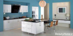 دکوراسیون شیک و زیبا آشپزخانه با ترکیب رنگ سفید و آبی