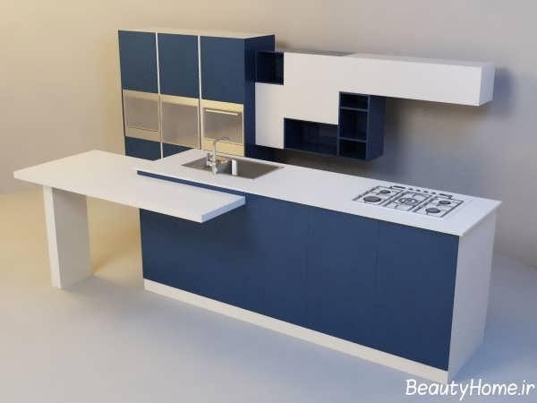 طراحی مدرن و شیک آشپزخانه با رنگ آبی