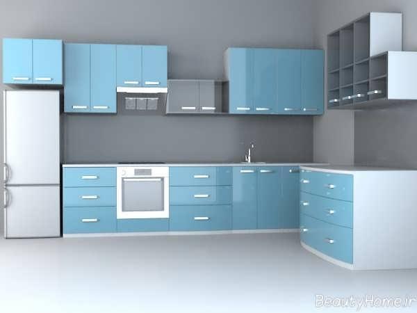 طراحی دکوراسیون آشپزخانه طوسی و آبی