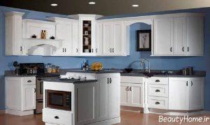 دکوراسیون کلاسیک آشپزخانه با رنگ سفید