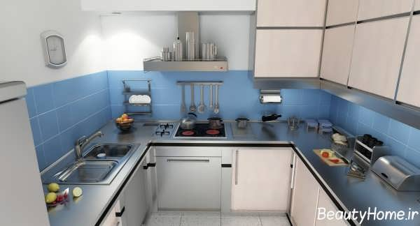 دکوراسیون داخلی آبی آشپزخانه