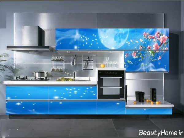 دکوراسیون آبی آشپزخانه با طراحی شیک و کاربردی