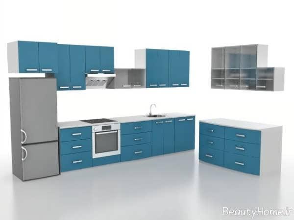 طراحی دکوراسیون سفید و آبی آشپزخانه