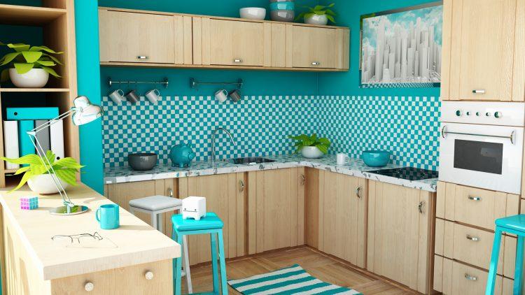 دکوراسیون آشپزخانه آبی با طراحی شیک و کاربردی