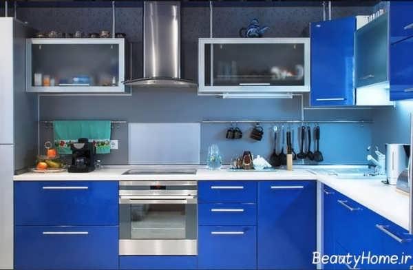 طراحی دکوراسیون آشپزخانه آبی مدرن و شیک