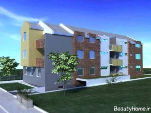 نمای آجری ساختمان مدرن
