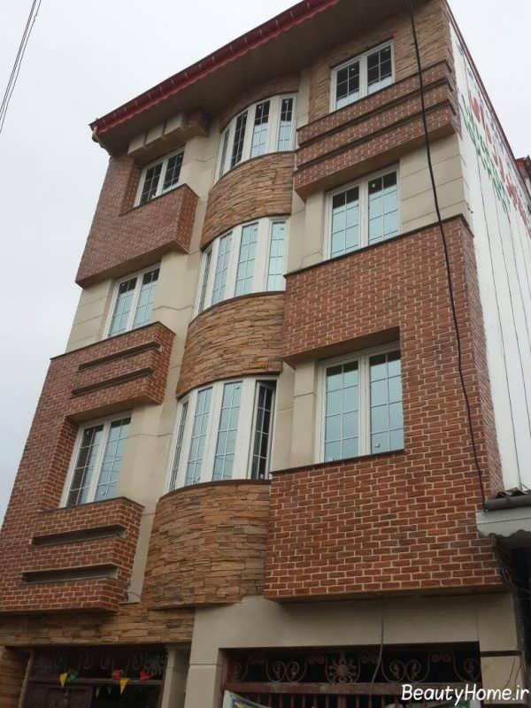 نمای آجری شیک و زیبا ساختمان چند طبقه