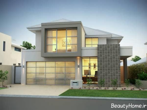 طراحی نمای ساختمان با آجر و سنگ