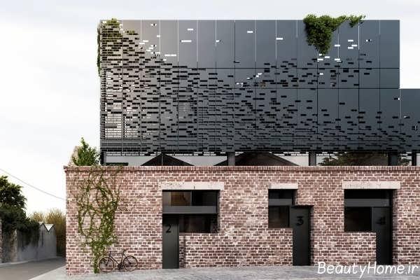 نما آجری ساختمان جدید و زیبا
