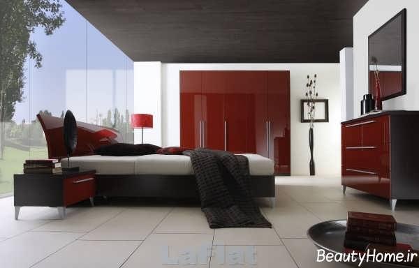 دکوراسیون داخلی اتاق خواب با رنگ زرشکی