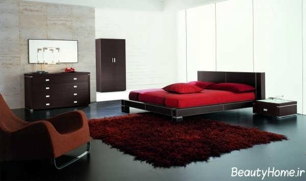 دکوراسیون زرشکی اتاق خواب شیک و زیبا