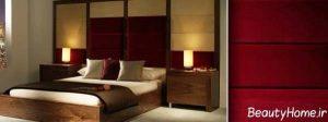 دکوراسیون قهوه ای و زرشکی برای اتاق خواب
