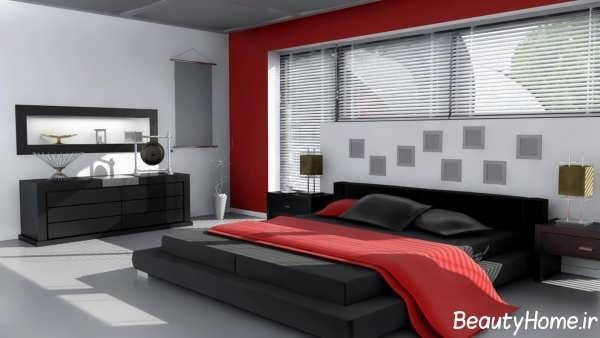 طراحی اتاق خواب با رنگ زرشکی و مشکی