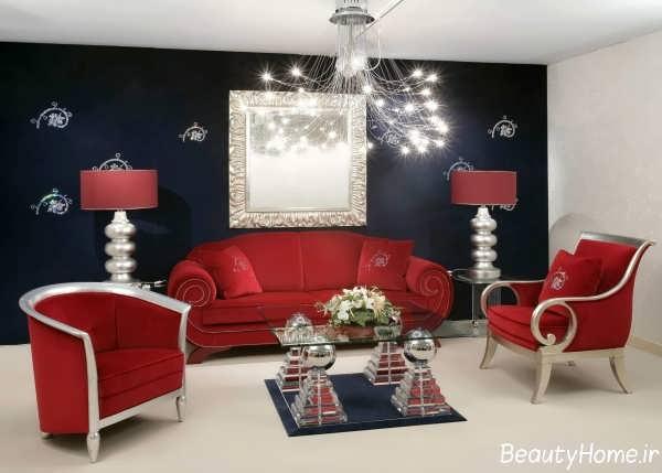 دکوراسیون داخلی اتاق نشیمن با رنگ زرشکی