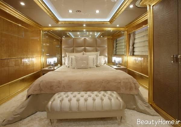 طراحی دکوراسیون اتاق خواب طلایی