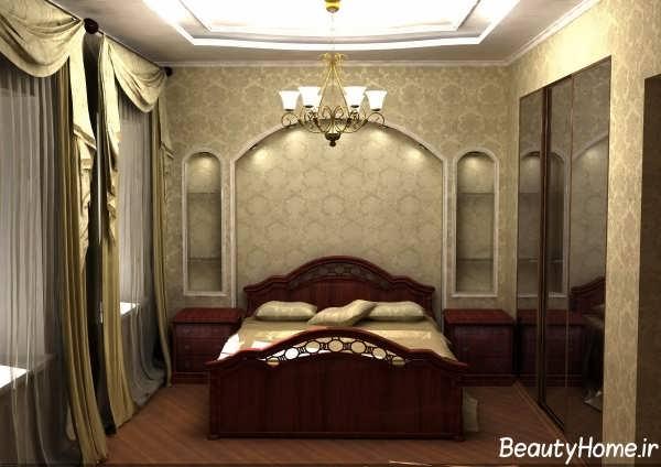 اتاق خواب با دکوراسیون طلایی