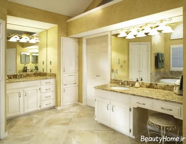 طراحی دکوراسیون آشپزخانه با رنگ طلایی