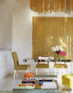 طراحی اتاق غذاخوری با رنگ طلایی