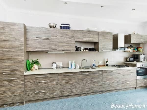 مدل کابینت آشپزخانه با طرح چوبی