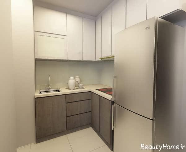 مدل کابینت سفید و خاکستری آشپزخانه