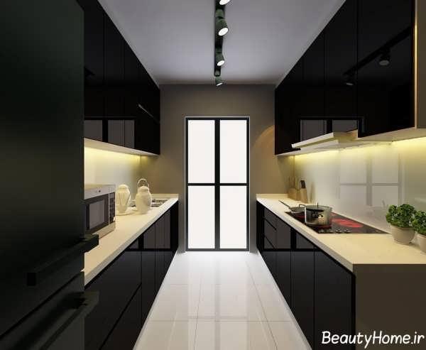 مدل کابینت براق و مشکی آشپزخانه