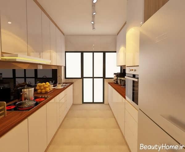طرح کابینت سفید و براق آشپزخانه